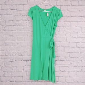 Old Navy   Green Wrap Dress Short Sleeve V-Neck